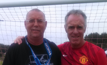 John with Eric Steele, Goalkeeping Coach for Manchester United